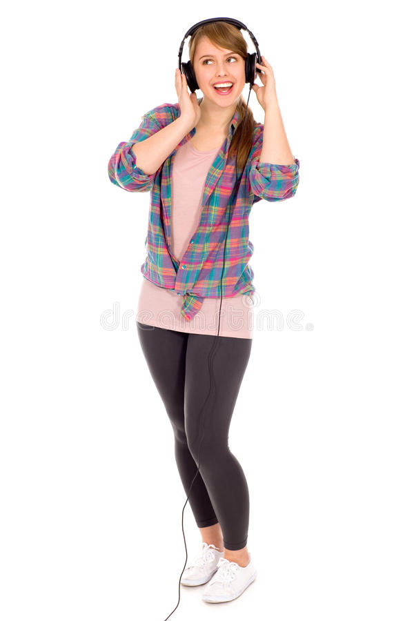 przypadkowy dziewczyny hełmofonów target42_0_ zdjęcia royalty free