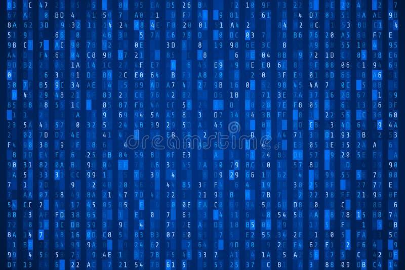 Przypadkowy heksadecymalny kod Abstrakcjonistyczny cyfrowych dane element Matrycy background również zwrócić corel ilustracji wek royalty ilustracja