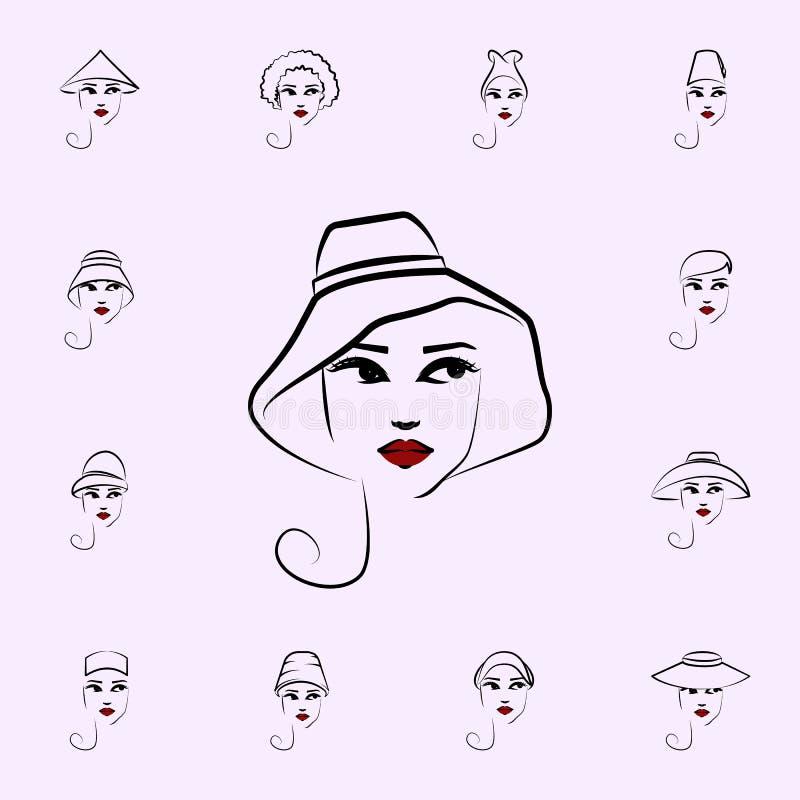 Przypadkowy kapelusz, dziewczyny ikona Kapelusz, dziewczyn ikon og?lnoludzki ustawiaj?cy dla sieci i wisz?ca ozdoba, royalty ilustracja