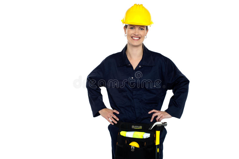 Przypadkowy kobieta pracownika budowlanego portret zdjęcia royalty free