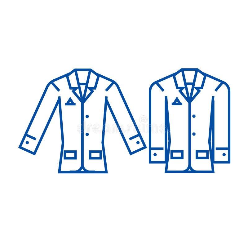 Przypadkowy kurtki linii ikony pojęcie Przypadkowej kurtki płaski wektorowy symbol, znak, kontur ilustracja royalty ilustracja