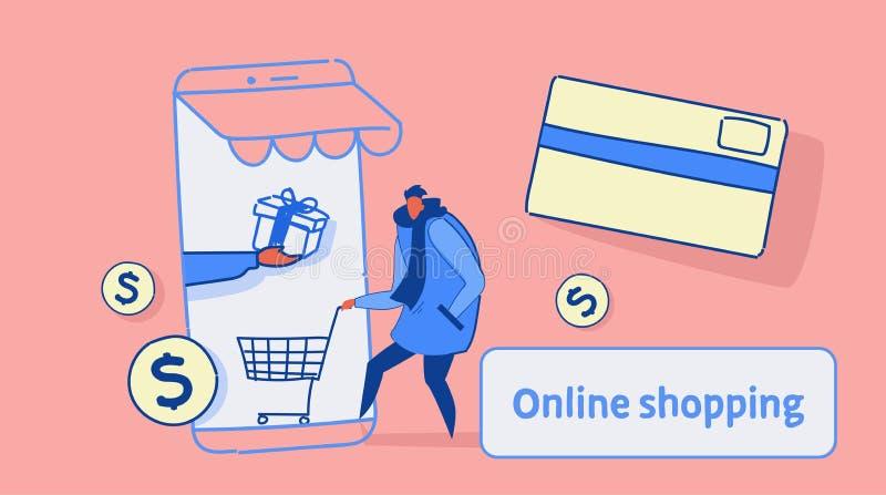 Przypadkowy mężczyzna używa mobilnego podaniowego online targowego zakupy pojęcia klienta mienia tramwaju karty smartphone ekran royalty ilustracja