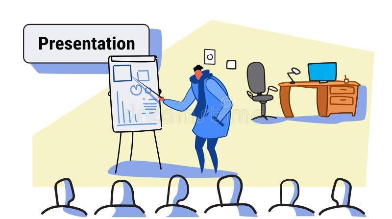 Przypadkowy mężczyzny mówca wskazuje pieniężnego wykres na trzepnięcie mapy spotkania prezentacji pojęcia biznesmena konferencyjn royalty ilustracja