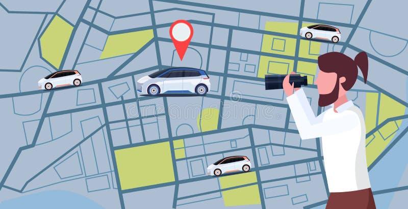 Przypadkowy mężczyzna patrzeje przez lornetek szuka samochód z lokacji szpilki czynszu samochodowego udzielenia pojęcia transport ilustracji