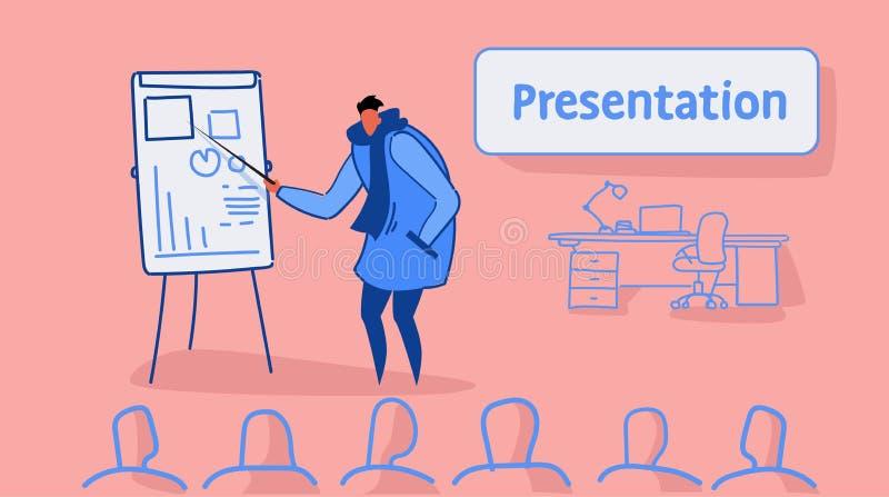 Przypadkowy mężczyzny lider wskazuje pieniężnego wykres na trzepnięcie mapy spotkania prezentacji pojęcia biznesmena konferencyjn royalty ilustracja