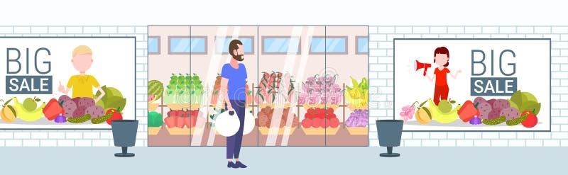 Przypadkowy mężczyzny mienie nabywa torba na zakupy faceta pozycję przed sklepu spożywczego sklepu supermarketa sprzedaży zewnętr ilustracja wektor