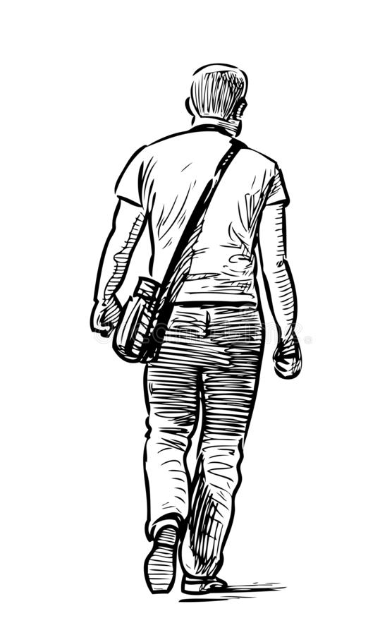 Przypadkowy miastowy pieszy i?? puszek ulica royalty ilustracja