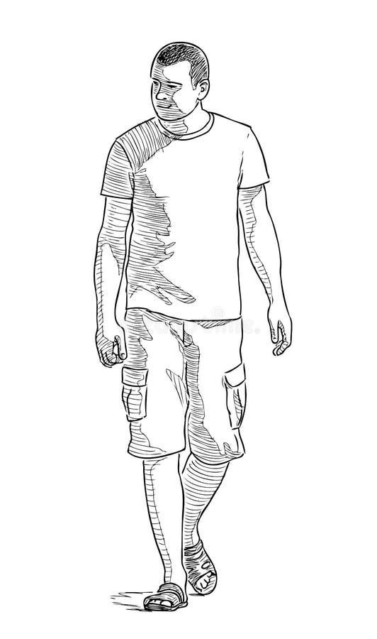 Przypadkowy mieszczanin spaceruje w pogodnym letnim dniu ilustracja wektor