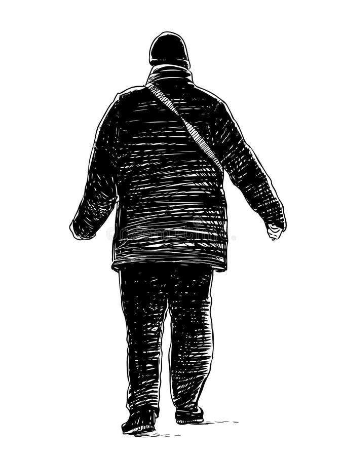 Przypadkowy mieszczanina odprowadzenia puszek ulica ilustracja wektor