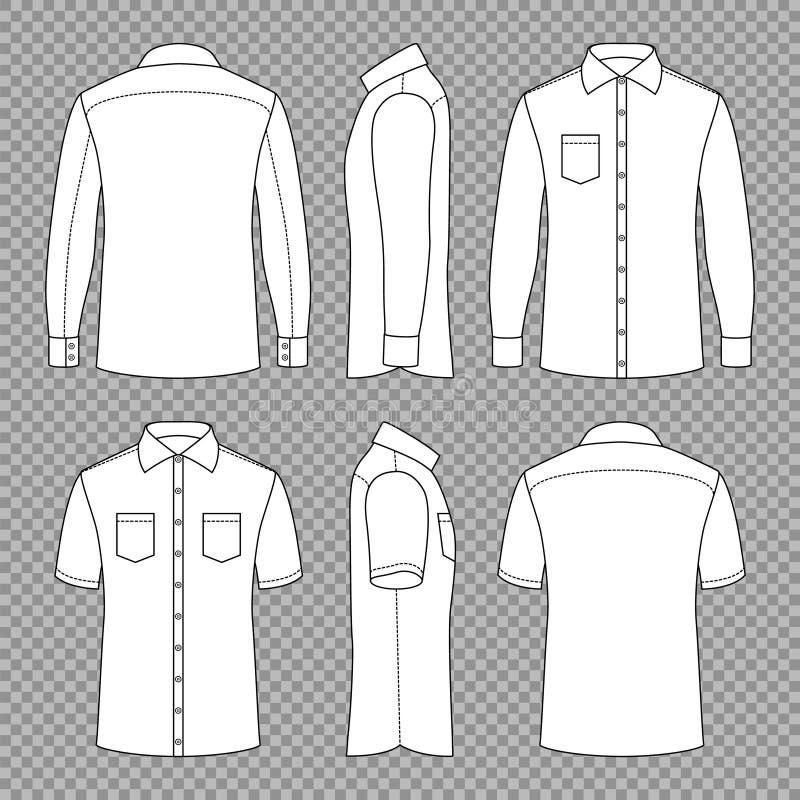Przypadkowy obsługuje puste kontur koszula z powrotem i przodzie i bocznych widokach z krótkimi, długimi rękawami w Wektorowy sza ilustracji