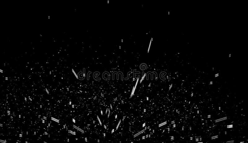 Przypadkowy po?arniczy ember latania ogie? iskrzy cz?steczki odizolowywa? na czarnym tle dla narzuta projekta ilustracja wektor