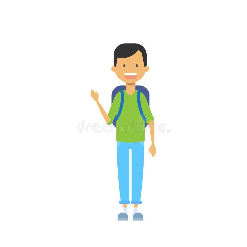 Przypadkowy uczeń z plecakiem i copybook, szczęśliwy szkolny uczeń folował długości avatar na białym tle, pomyślna nauka royalty ilustracja