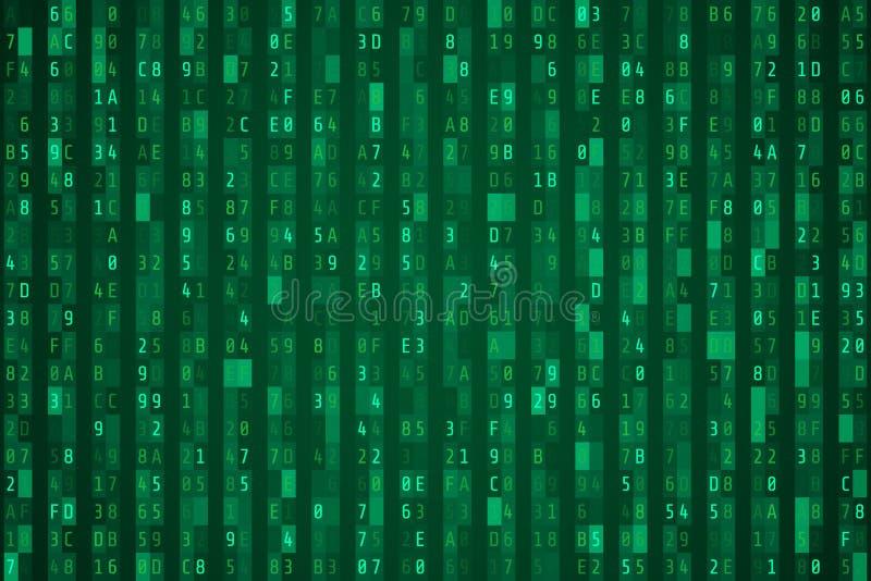 Przypadkowy zielony hex kodu strumień również zwrócić corel ilustracji wektora ilustracja wektor