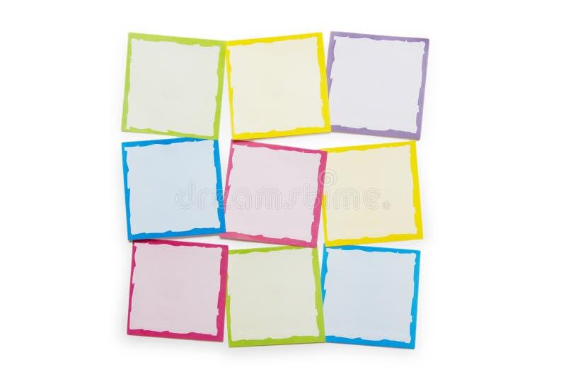 Przypomnienia notatki odizolowywać na biały tle zdjęcia stock