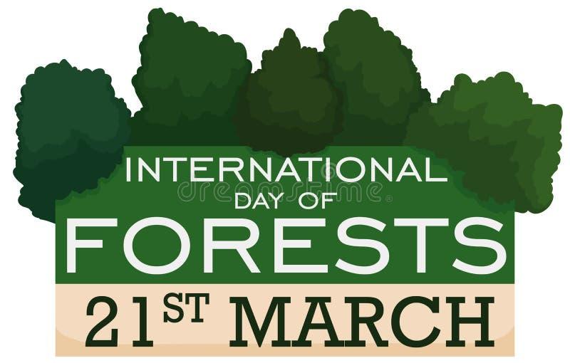 Przypomnienie data dla Międzynarodowego dnia lasy z drzewami, Wektorowa ilustracja ilustracji