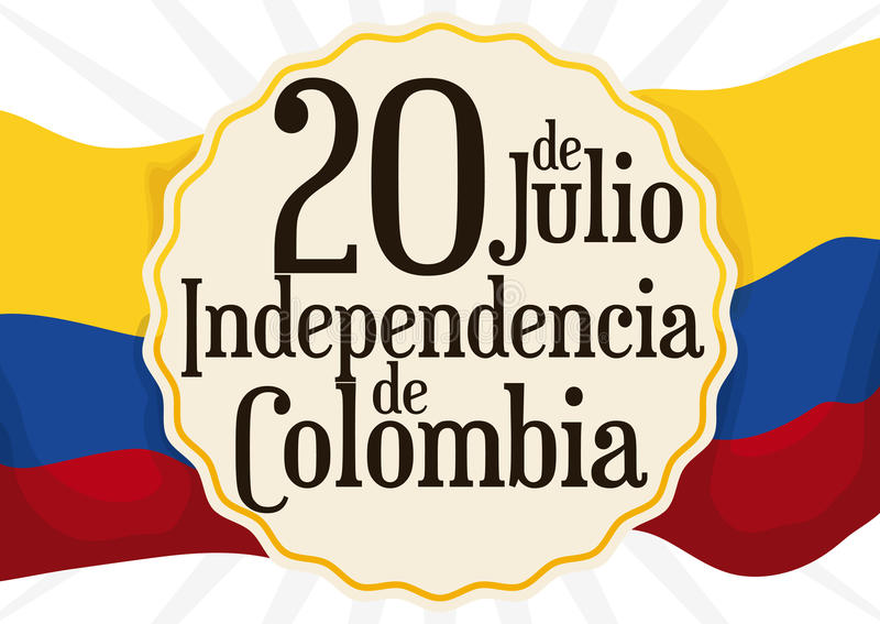 Przypomnienie data nad Kolumbijską flaga dla dnia niepodległości w Lipu 20, Wektorowa ilustracja royalty ilustracja