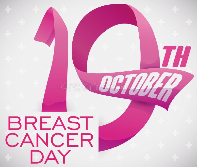 Przypomnienie data Projektująca z Różowymi faborkami dla nowotworu piersi dnia, Wektorowa ilustracja royalty ilustracja