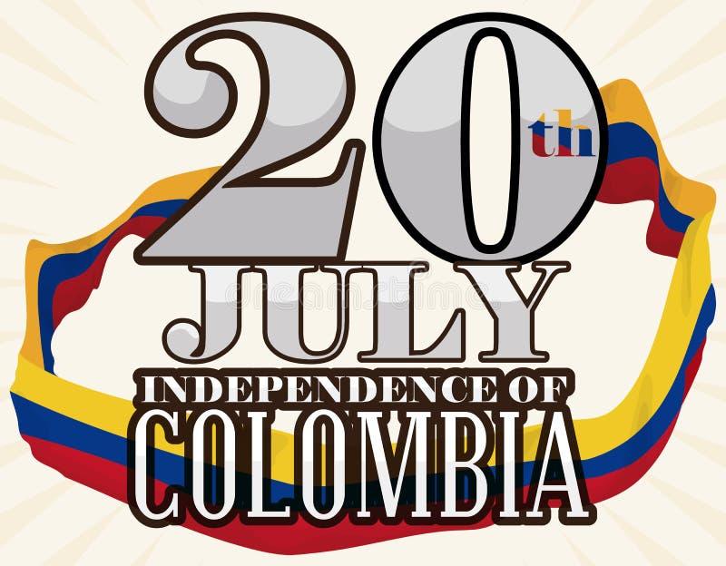 Przypomnienie data z Kolumbijską flaga Wokoło go dla święta państwowego, Wektorowa ilustracja royalty ilustracja