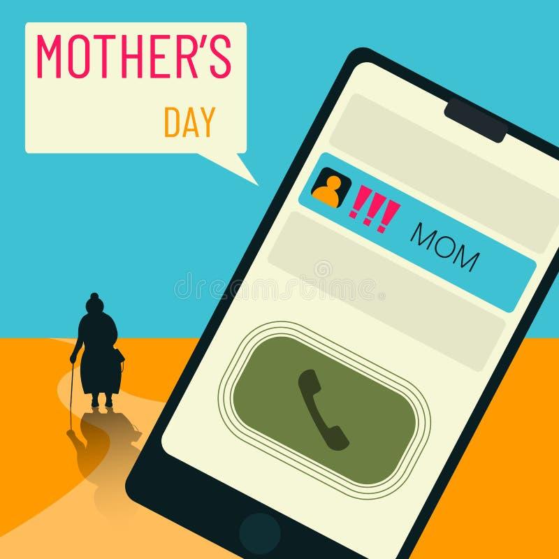 Przypomnienie który pamiętać często o mamie potrzebujesz ty, o rodzicach na matka dniu, szczególnie ilustracja wektor