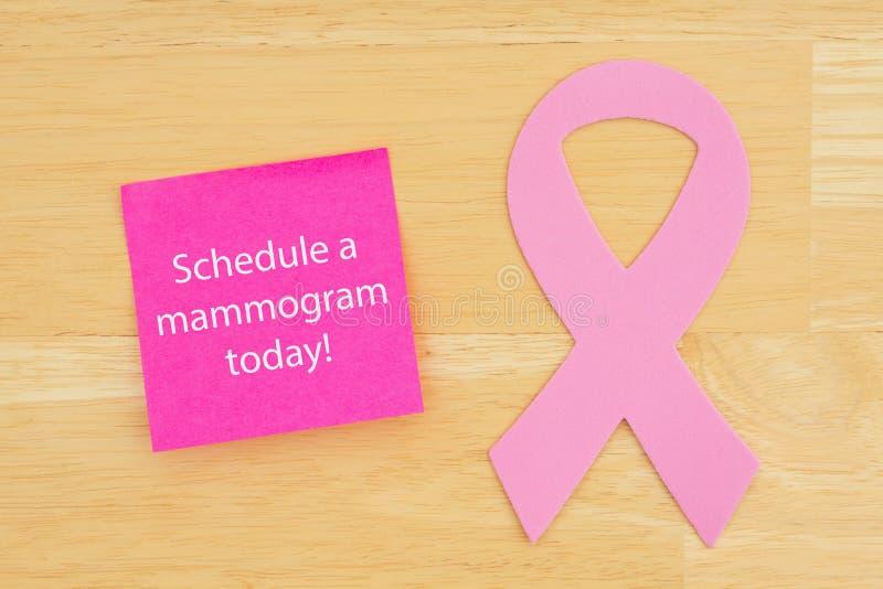 Przypomnienie planować mammografia nowotworu różowego faborek obraz stock