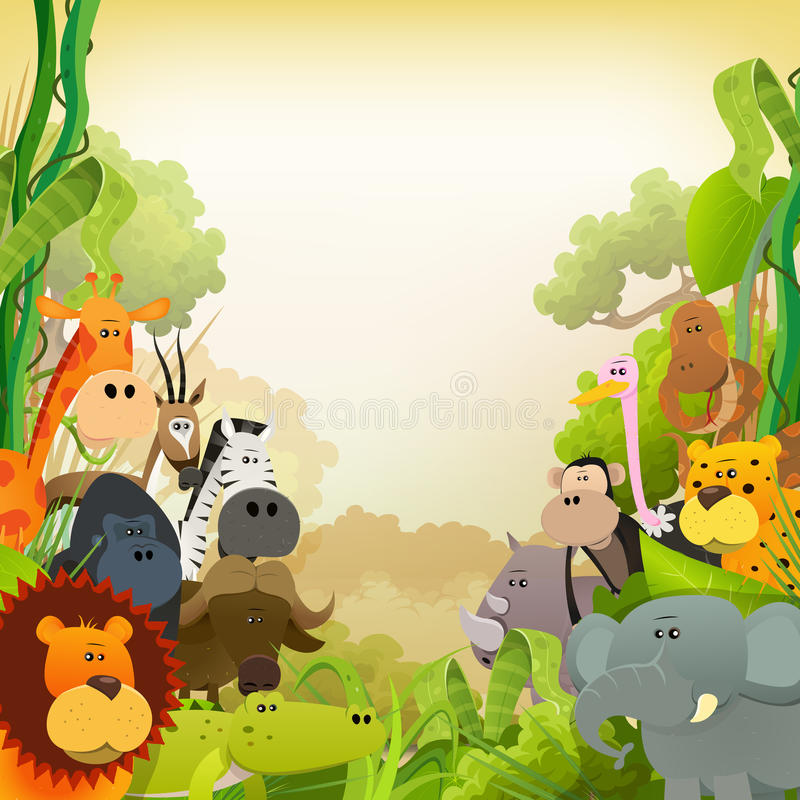 Przyrod zwierząt Afrykański tło ilustracja wektor