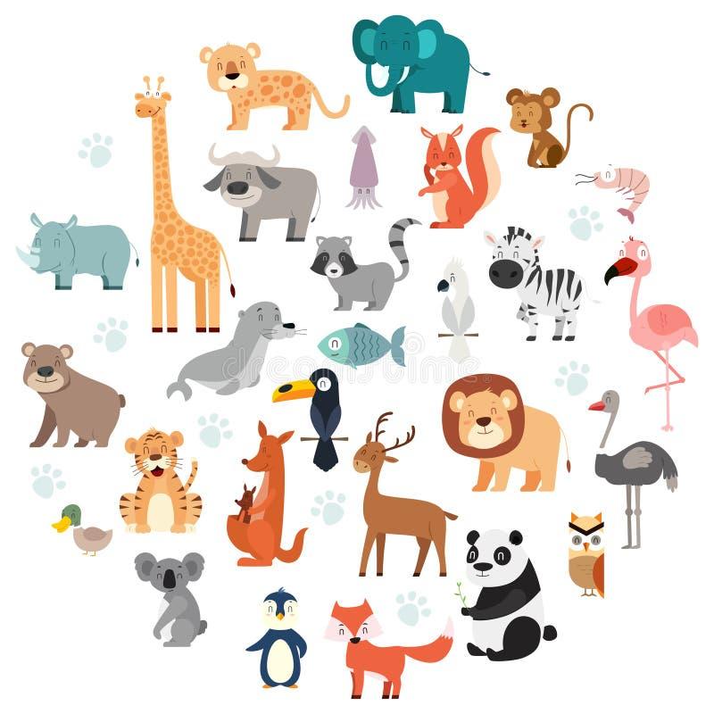 Przyrod zwierząt kreskówki set ilustracja wektor