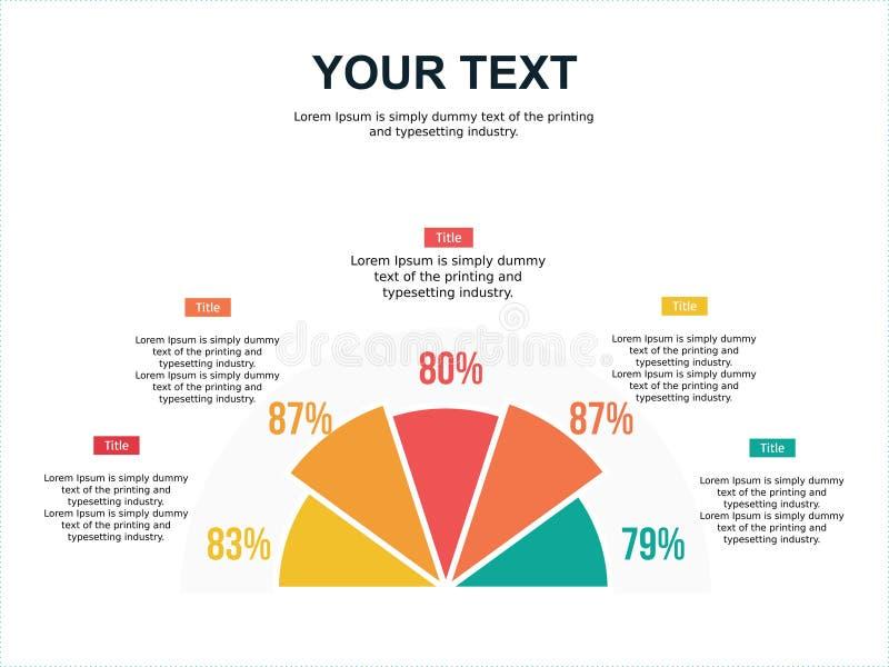 Przyrodni okręgu odsetka elementu ppt i infographic szablon zdjęcie stock