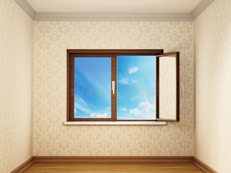 Przyrodni otwarte okno wśrodku pustego izbowego otwarcia niebieskie niebo ilustracja 3 d royalty ilustracja