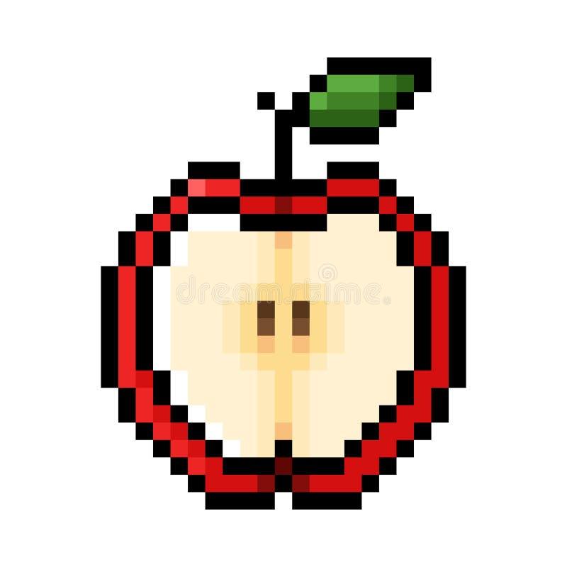 Przyrodnia czerwona jabłczana piksel sztuka ilustracja wektor
