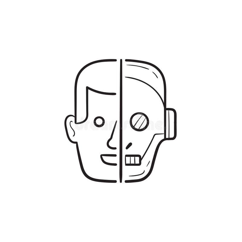 Przyrodnia ludzka przyrodnia ręka rysująca robot głowy konturu doodle ikona ilustracja wektor