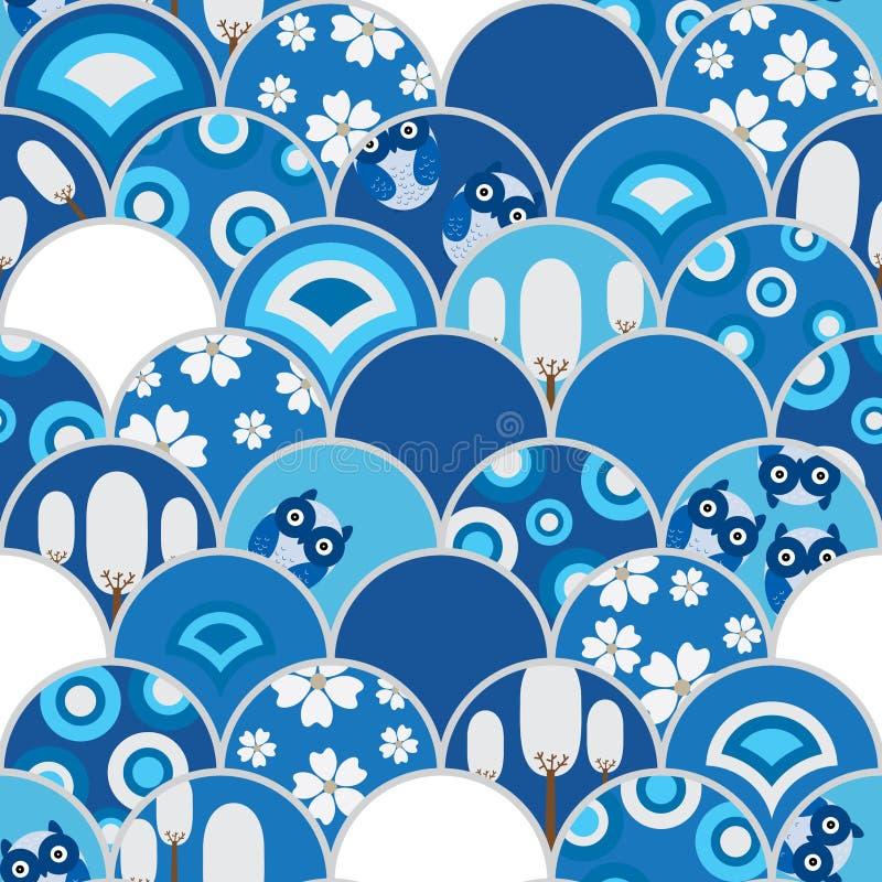 Przyrodniej okrąg sowy błękitny bezszwowy wzór ilustracja wektor
