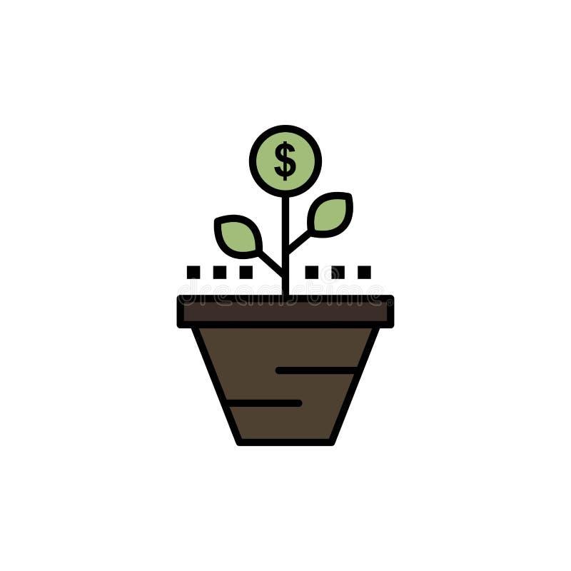 Przyrost, biznes, opieka, finanse, R, R, pieniądze, podwyżka koloru Płaska ikona Wektorowy ikona sztandaru szablon royalty ilustracja