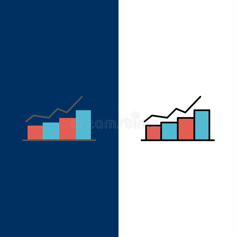 Przyrost, mapa, Flowchart, wykres, wzrost, postęp ikony Mieszkanie i linia Wypełniający ikony Ustalony Wektorowy Błękitny tło ilustracja wektor