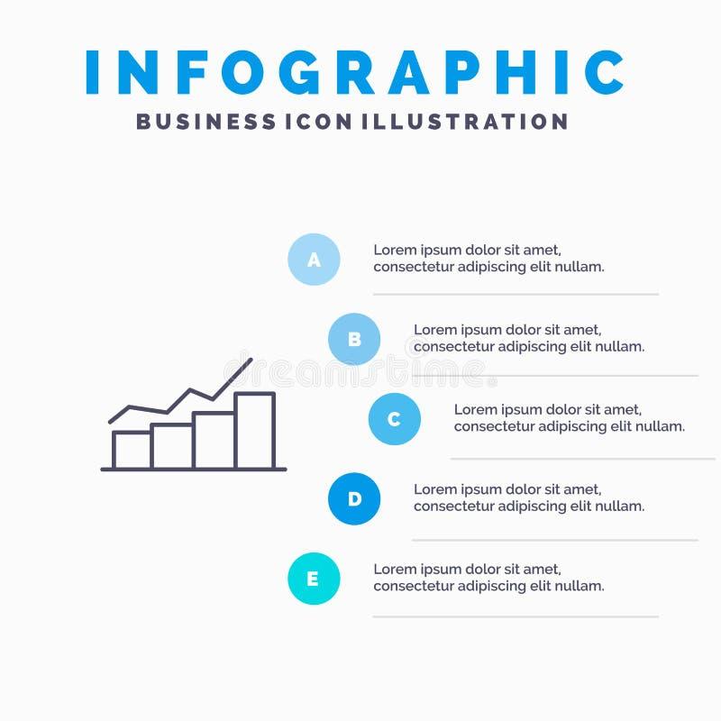 Przyrost, mapa, Flowchart, wykres, wzrost, postęp Kreskowa ikona z 5 kroków prezentacji infographics tłem royalty ilustracja