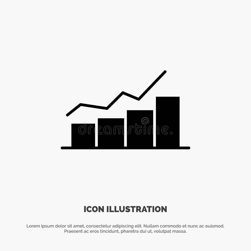 Przyrost, mapa, Flowchart, wykres, wzrost, postępu glifu ikony stały wektor ilustracji