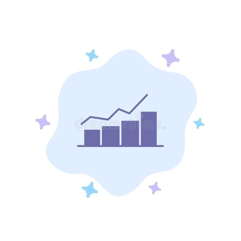 Przyrost, mapa, Flowchart, wykres, wzrost, Rozwija się Błękitną ikonę na abstrakt chmury tle royalty ilustracja
