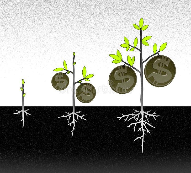 Przyrost pieniądze drzewo ilustracja wektor