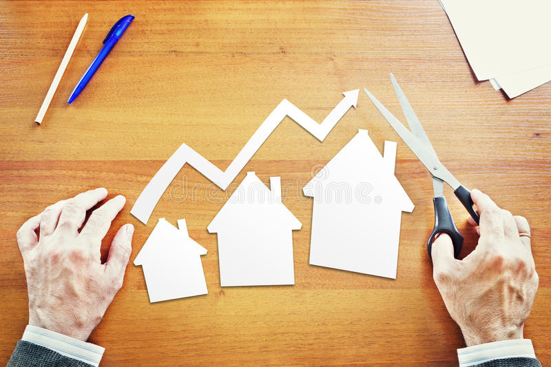Przyrost w sprzedażach nieruchomość zdjęcie stock