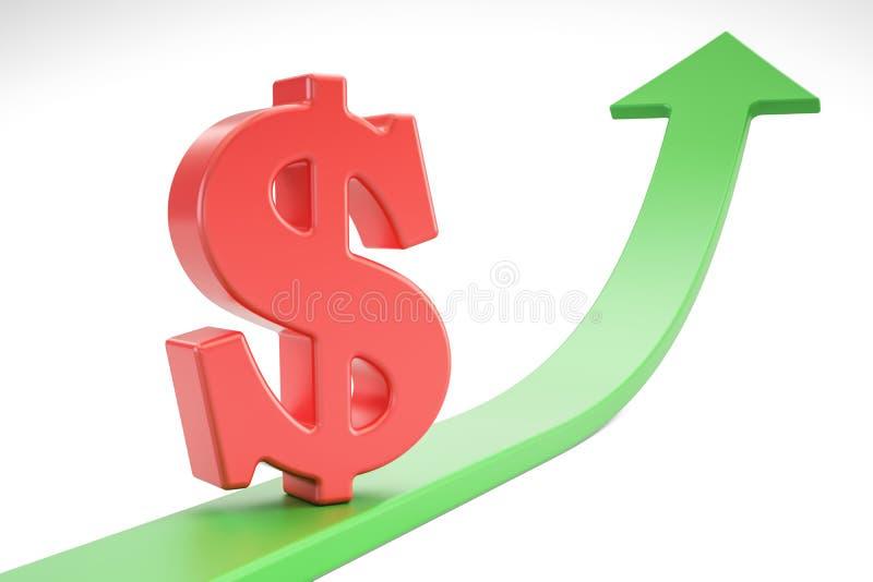 Przyrost zielona strzała z symbolem dolar, 3D rendering ilustracji