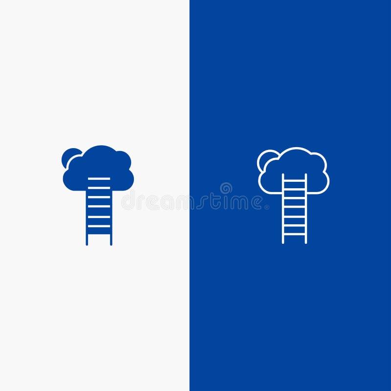 Przyrosta, biznesu, kariery, przyrosta, nieba, drabiny, schodek linii i glifu Stałej ikony sztandaru glifu, i linii Błękitnej iko ilustracja wektor