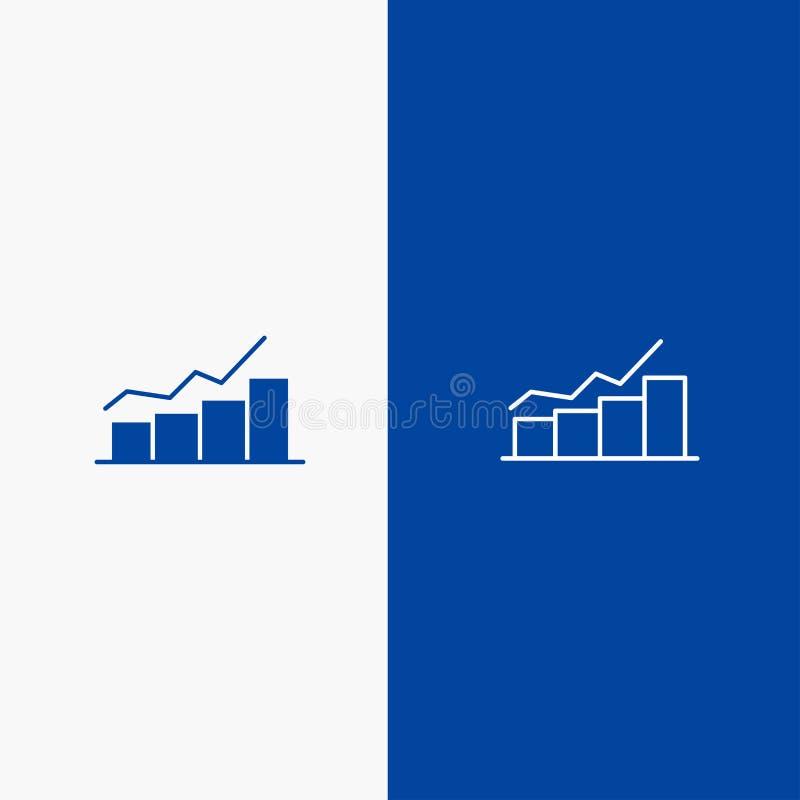 Przyrosta, mapy, Flowchart, wykresu, wzrosta, postęp linii i glifu Stałej ikony sztandaru glifu, Błękitnej ikony błękita Stały sz ilustracji