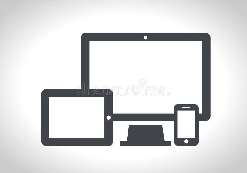 Przyrząd ikony: mądrze telefon, pastylka i komputer stacjonarny, Wyczulony sieć projekt ilustracja wektor