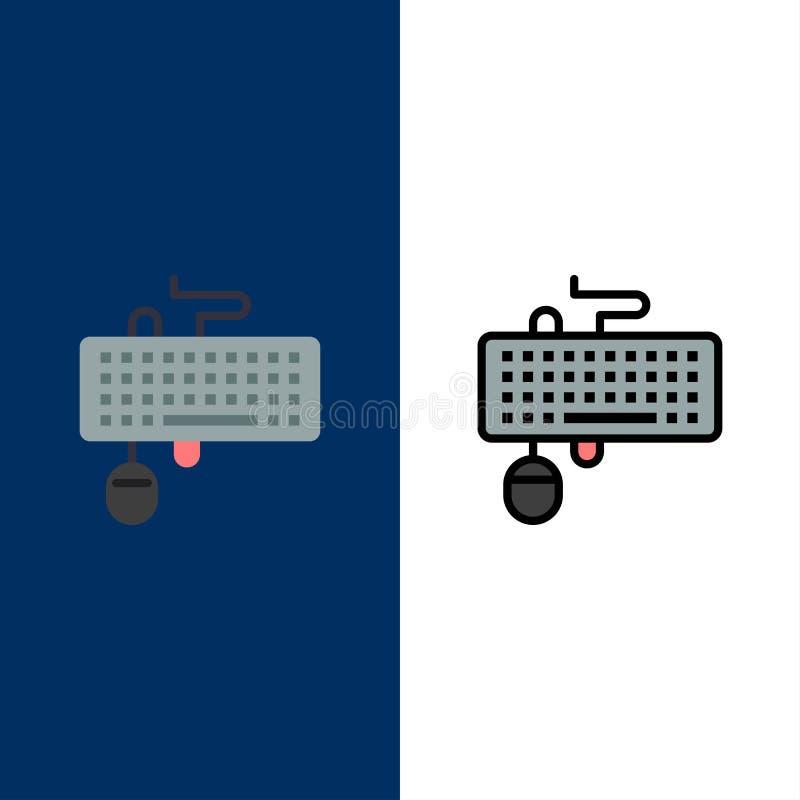 Przyrząd, interfejs, klawiatura, mysz, Przestarzałe ikony Mieszkanie i linia Wypełniający ikony Ustalony Wektorowy Błękitny tło royalty ilustracja
