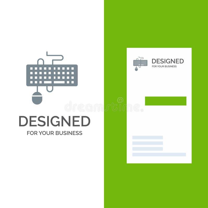 Przyrząd, interfejs, klawiatura, mysz, Przestarzały Popielaty logo projekt i wizytówka szablon, ilustracji