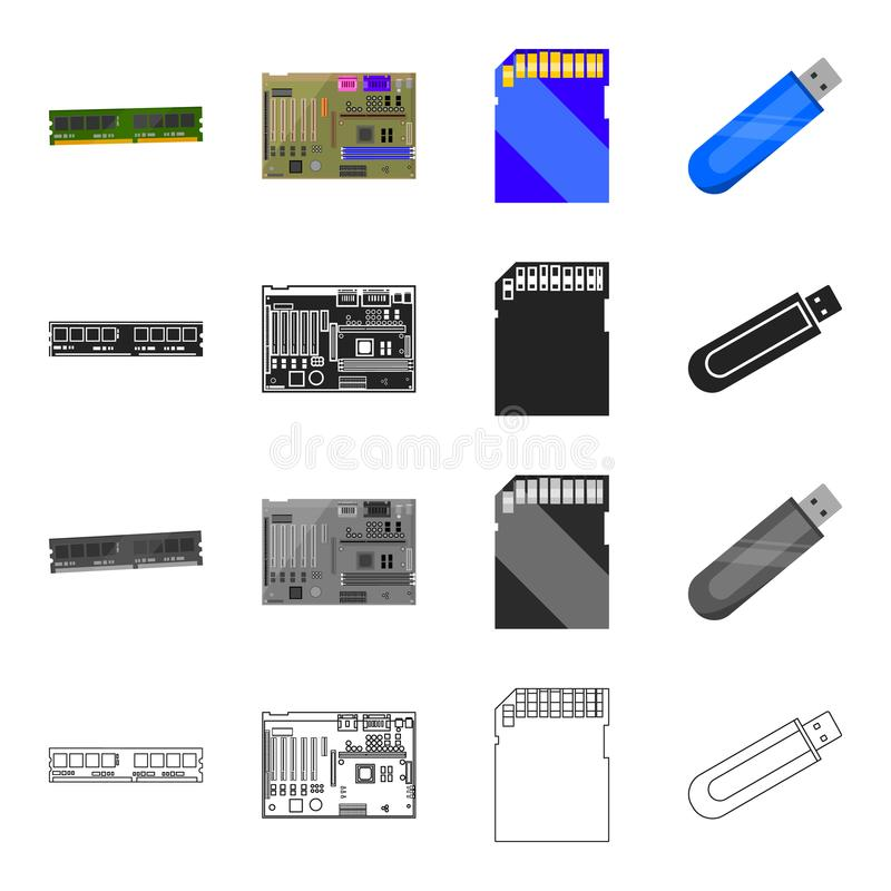Przyrząd, składniki, części i inna sieci ikona w kreskówce, projektujemy Komputer, laptop, biuro, ikony w ustalonej kolekci ilustracja wektor