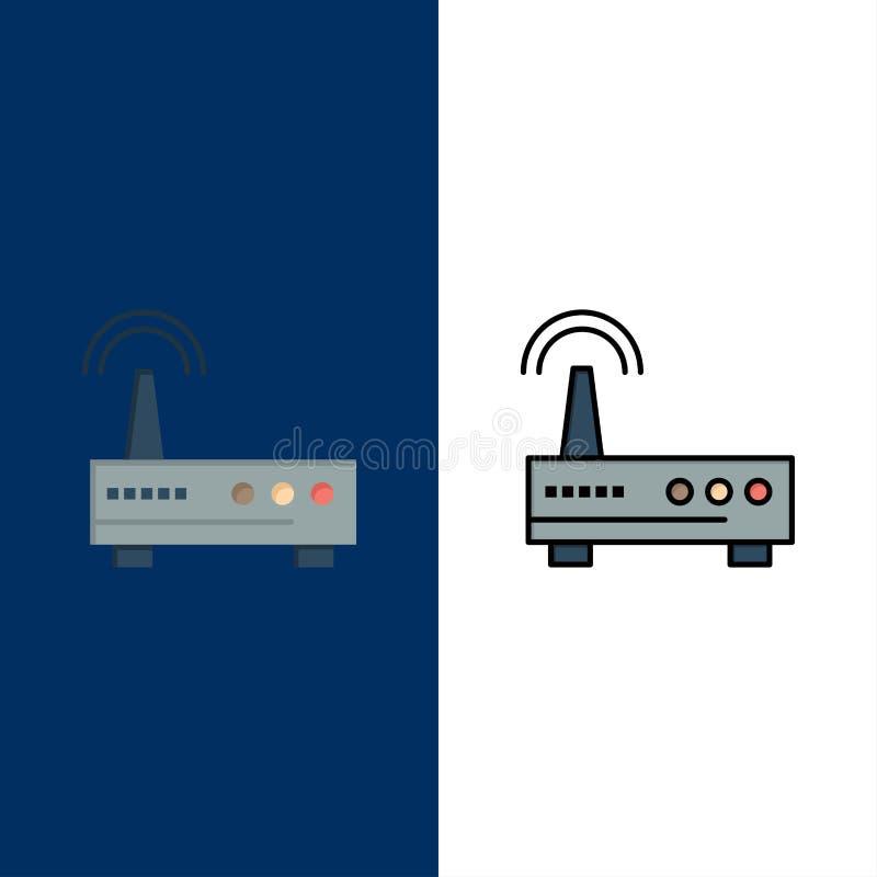 Przyrząd, Wifi, sygnał, edukacji ikony Mieszkanie i linia Wypełniający ikony Ustalony Wektorowy Błękitny tło royalty ilustracja