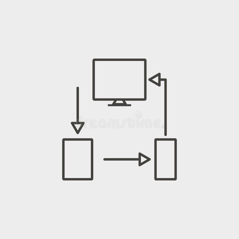 Przyrząda, monitor, wisząca ozdoba, pastylka, kontur, ikona Sieć rozwoju wektoru ikona Symbol dla stron internetowych, sieć proje ilustracja wektor