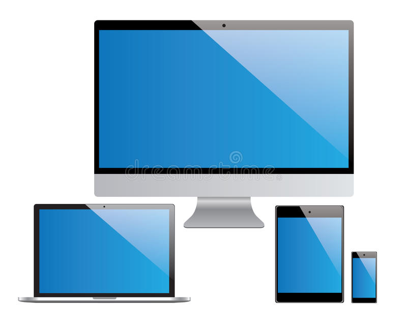 Przyrząda ustawiają, laptop, komputer osobisty, pastylka, smartphone ilustracja wektor