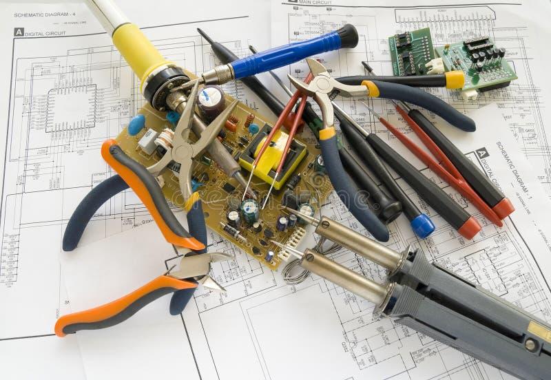 przyrządu miejsce pracy elektroniczny remontowy zdjęcie stock