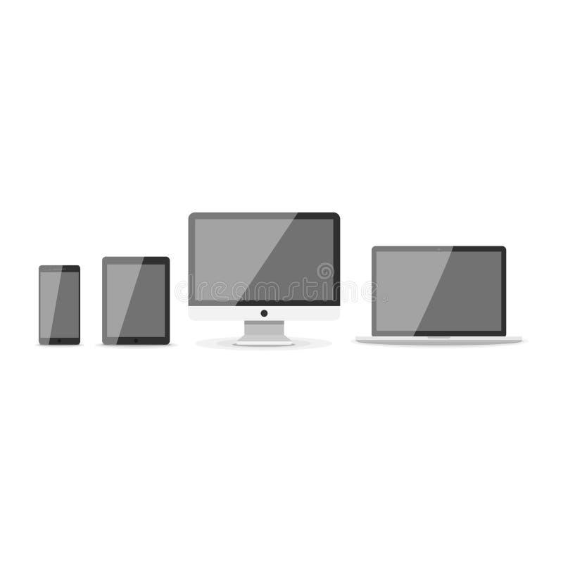 Przyrządu mockup szablon Set komputerowy monitor, komputer, laptop, telefon, pastylka odizolowywająca na zielonym tle mieszkanie royalty ilustracja